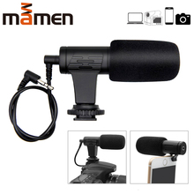 лучшая цена MAMEN 3.5mm Stereo Camera Microphone VLOG Photography Interview Digital Video Recording Microphone for Nikon Canon DSLR Camera