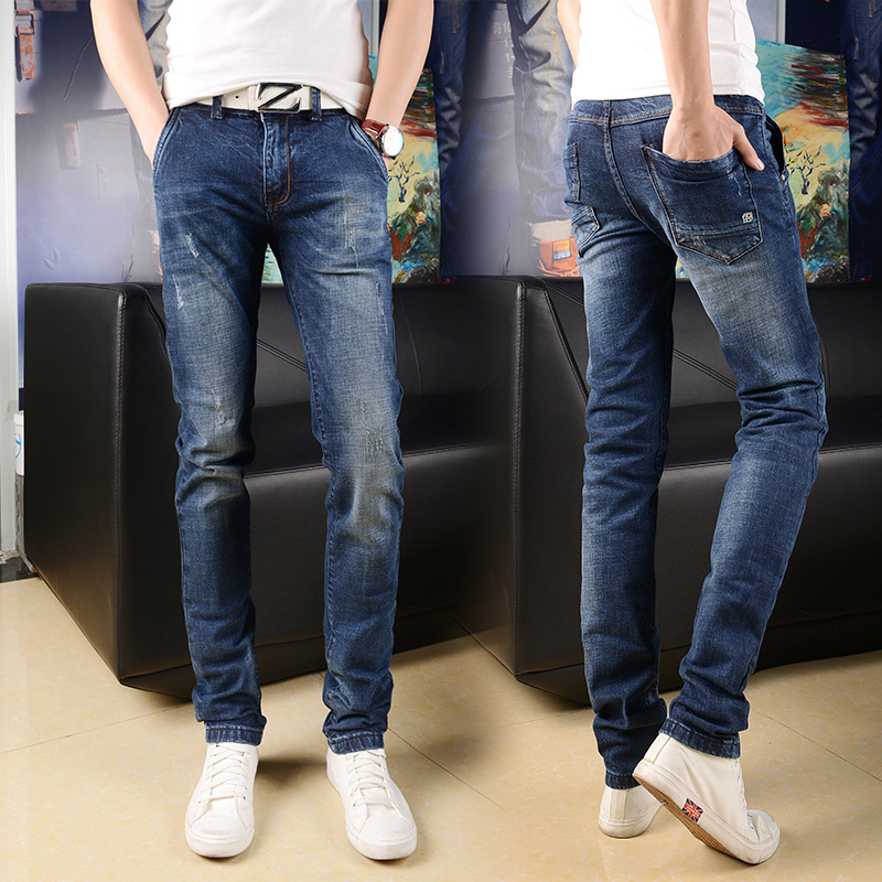 Main Push MEN'S Jeans Korean-style Fashion Simple Trend Versatile Slim Fit Elasticity Paragraph Four Seasons Youth Jeans Men's