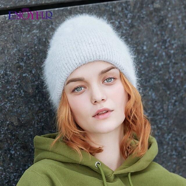 ENJOYFUR Winter hats for women warm long rabbit fur hair female caps fashion solid colors wide cuff young style beanies 2