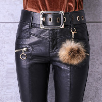 #0525 2019 Autumn Black Pencil Pants Leather Trousers Woman With Belt High Waist Skinny Faux Leather Pants Women Full length
