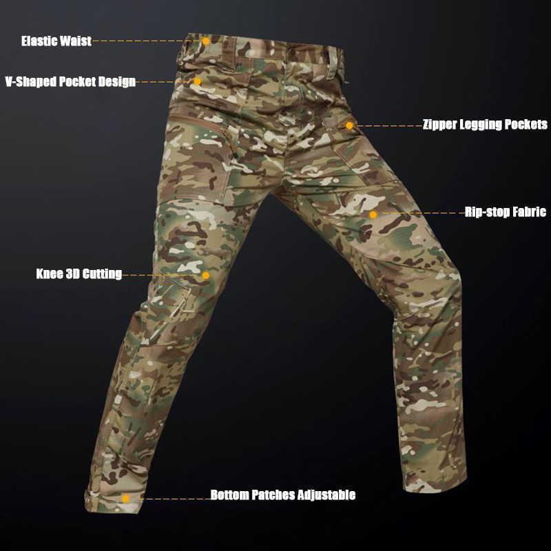 2019 kamuflaż taktyczne spodnie w stylu cargo mężczyźni wielu kieszenie wojskowe armii walki spodnie długie Multicam strzelać polowanie spodnie robocze S-5XL