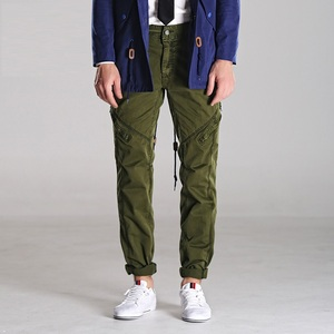 Image 2 - アーミーグリーン男性のミリタリーパンツスリムフィットワークカーゴパンツ戦術的なカジュアルなストレート長ズボンカーゴパンツ男性とポケット