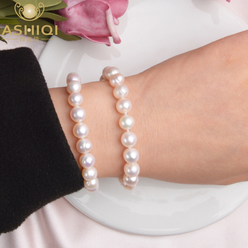 ASHIQI Genuine Natural Freshwater Pearl Bracelets Bangles For Women With Classic Fashion White Pearl  Jewelry Gift
