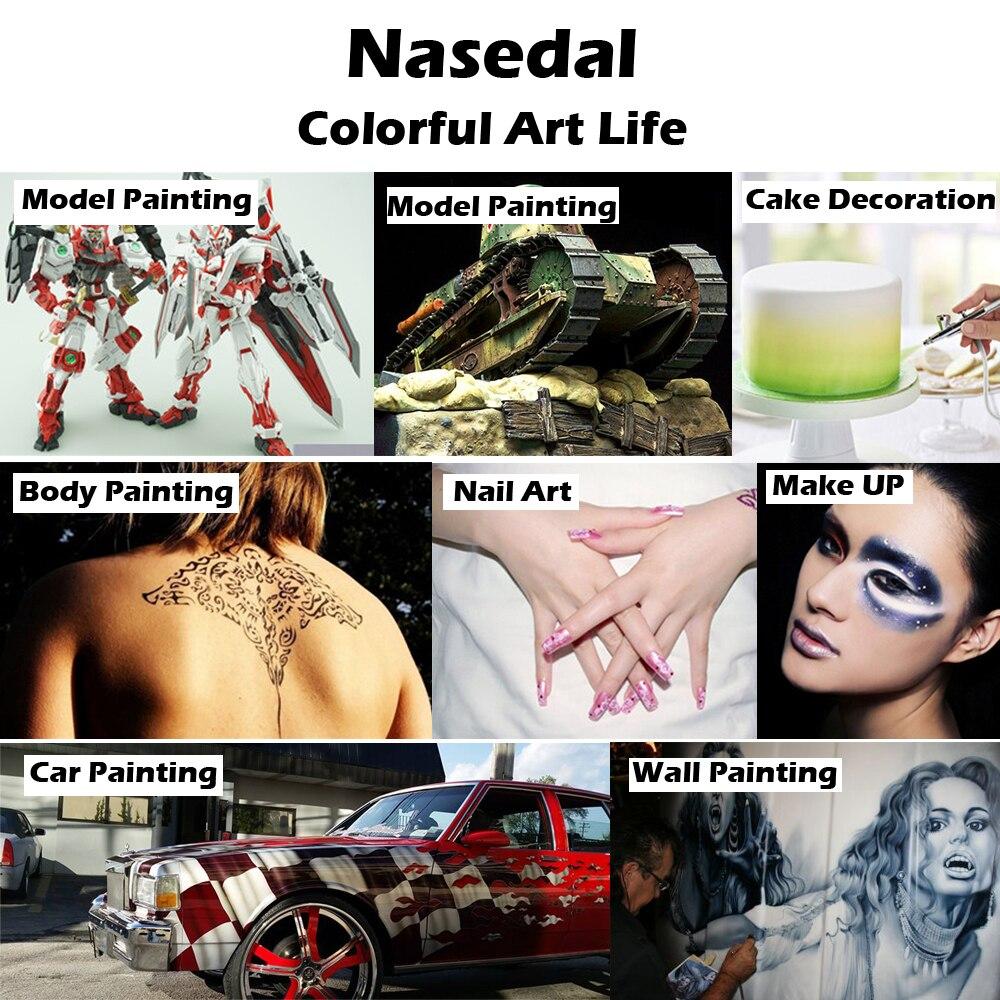 Nasedal Dual-Action Airbrush Compressor Kit Air Brush Paint Gun Cleaning Tool Makeup Nail Paint Spray Gun Tattoo Body Car Paint