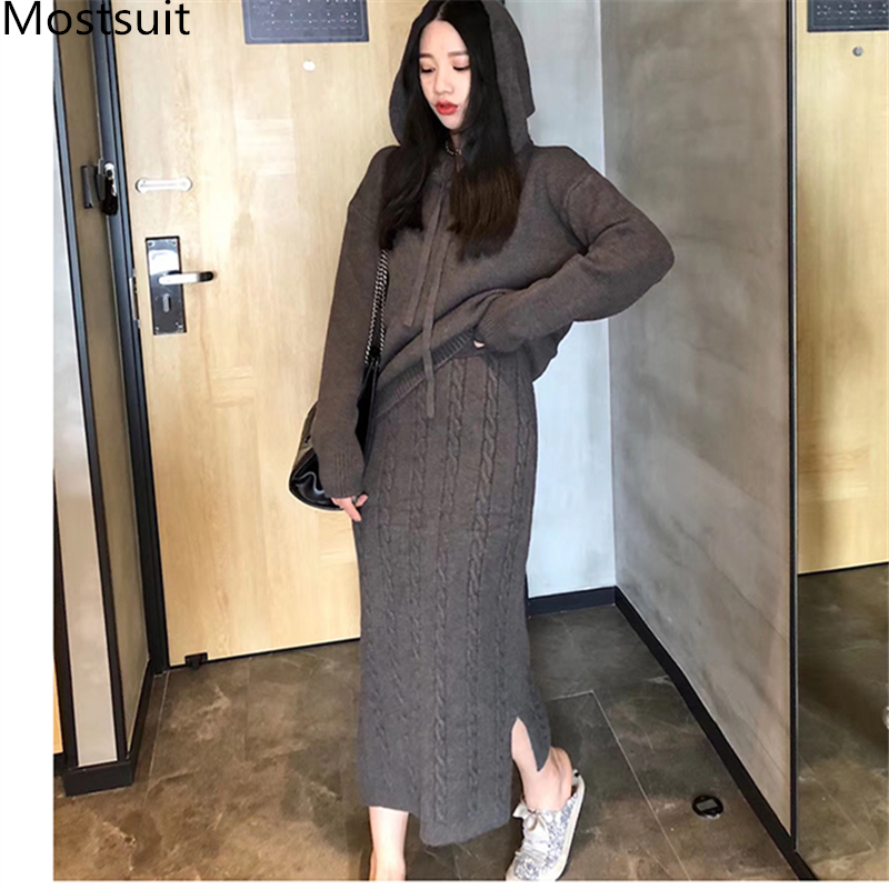 Twisted Knitting Two Piece Skirt Sets Outfits Women Hooded Sweater + Midi-length Splitting Skirt Suits Fashion Casual 2 Pcs Sets