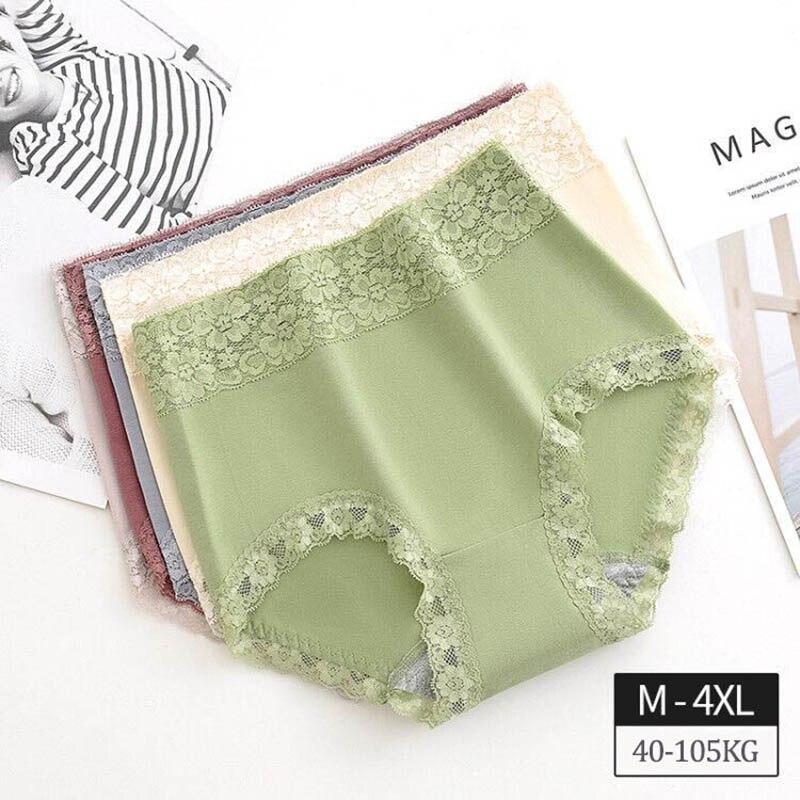 M~4XL Cotton Briefs Women's Underpants Lace Lingerie High Waist Panties Breathable Plus Size Underwear Summer Female Intimates