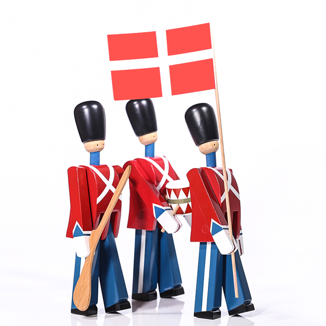 Nordic Danish Soldier Wooden Miniature Figurines Decoration Creative Home Decor Children's Model Puppet Handmade Solid Wood 4