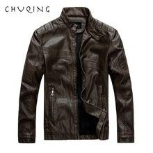 CHUQING Mens Leather Machine Model Jacket Casual Clothing