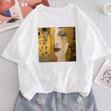 Summer new letter Gustav Klimt stampato Vintage top tees casual Harajuku large size new art pittura ad olio sciolto T-shirt ins femminile(China)