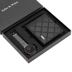 Image 5 - Business Mannen Horloges Roestvrij Stalen Band Mannen Quartz Horloge Lederen Portemonnee Gift Set Voor Vriendje Vader Echtgenoot Hot Koop 2019