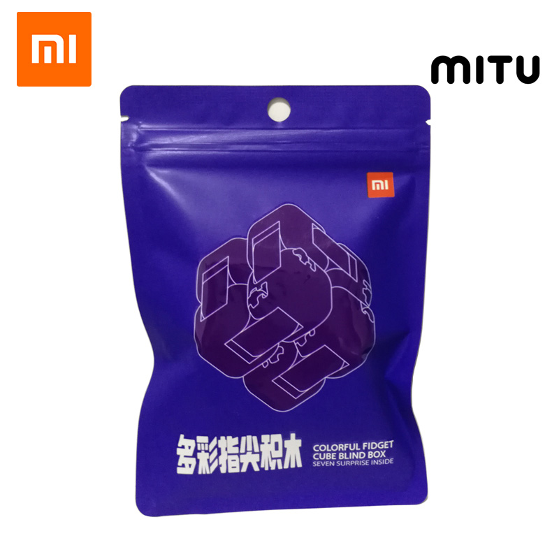 Xiaomi Mitu Colorful Fidget Blind Box Cube Spinner Seven Surprise Fingertip Building Block Bricks Toy Puzzle Assembling 2019 New(China)