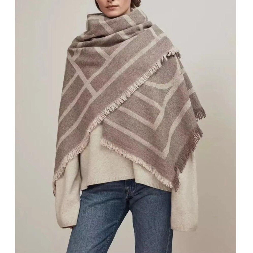 Thicken 100% Wool Blanket Scarf Pashmina for Women Winter Wraps Shawl Poncho 140x150cm