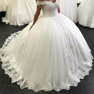 Hors de l'épaule robe de bal robe de mariée 2020 dentelle cristaux perles robes de mariée mariage robes de mariée sur mesure à lacets nouveau