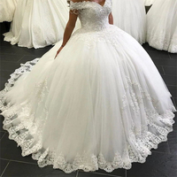 Off The Shoulder Ball Gown Wedding Dress 2020 Lace Crystals Beading Bridal Gowns Marriage Bride Dresses Custom Made Lace up New