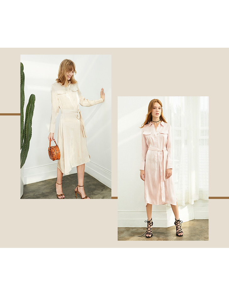 ONLY 19 Autumn Glossy Shirt Dress | 119307623 8