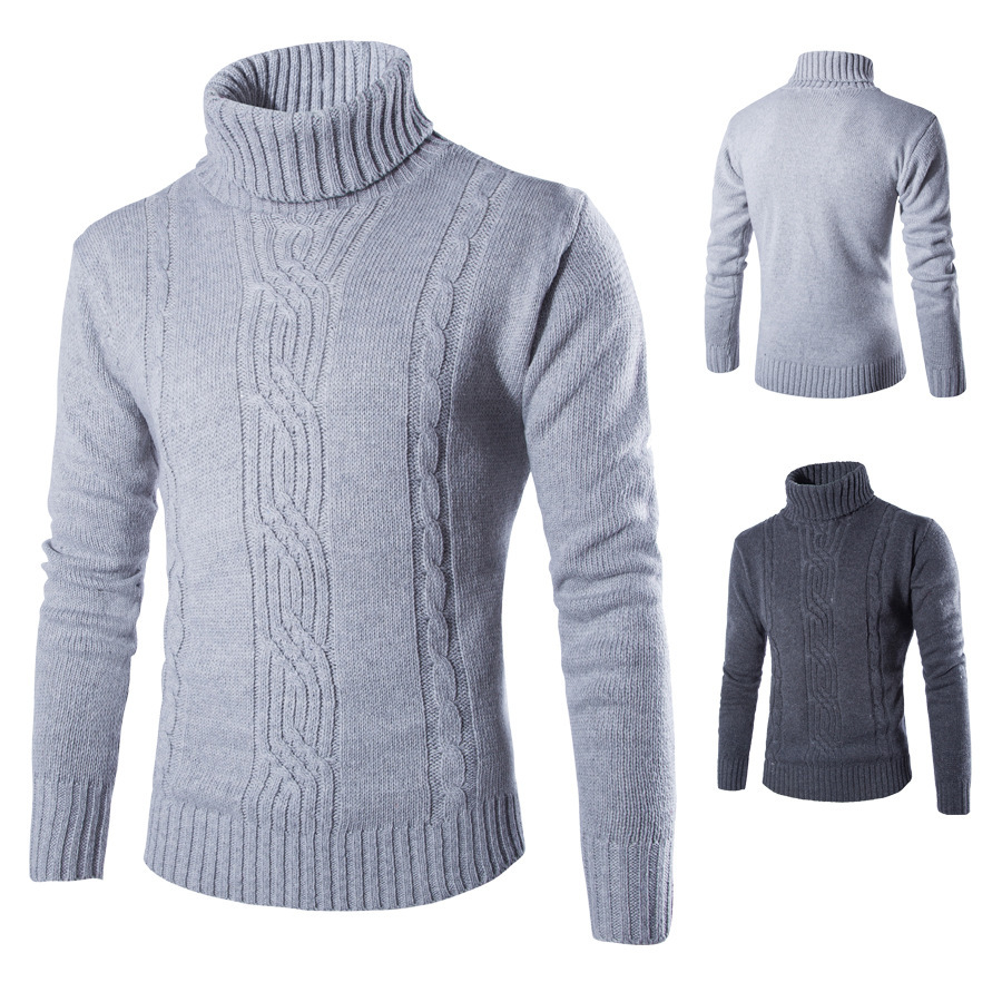 2020 Warm Male Sweater Pullover Slim Solid High Lapel Jacquard Hedging British Men's Clothing Mens Turtleneck Clothes