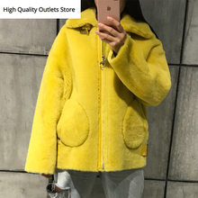 ladies suede jacket lambskin jacket women shearling jacket(China)