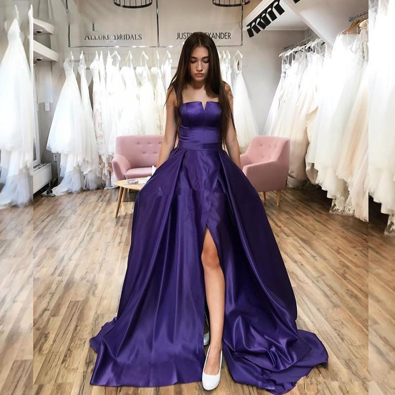 SoDigne Simple Evening Dresses 2020 Long Sexy Side Slit A-Line Prom Dress formal Gowns Vestido De Festa Custom Made