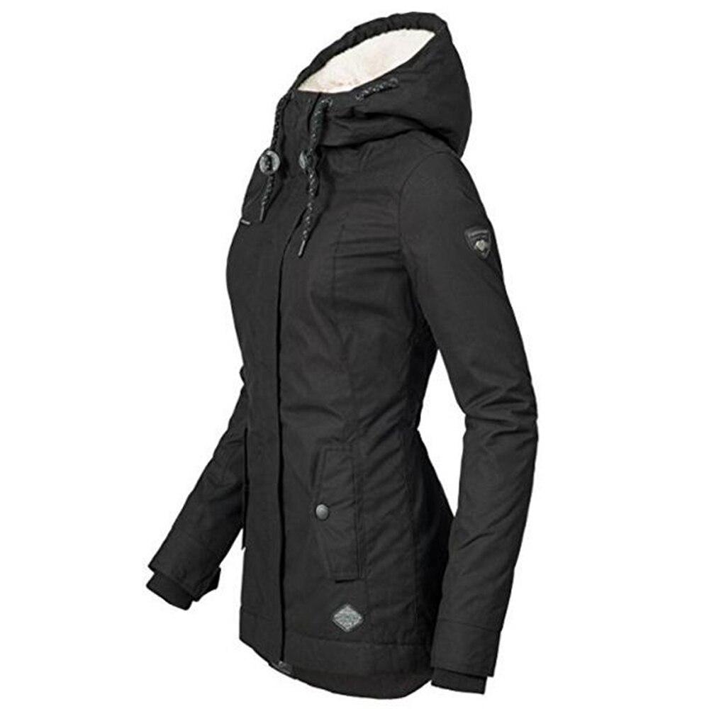 Women Autumn Winter Jacket Coat Fleece Warm Windproof Slim Outerwear Fashion Zip Up Pocket Hooded Drawstring Overcoat Parka Women Women's Clothings Women's Sweaters/Coat cb5feb1b7314637725a2e7: black