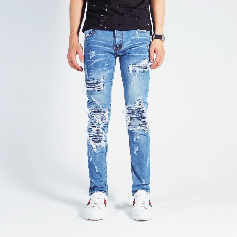 American Streetwear Men Jeans Blue Color Destroyed Ripped Jeans Men Punk Pants Elastic Patchwork Designer Hip Hop Skinny Jeans