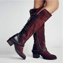 купить 2020 New Flock Leather Women Over The Knee Boots Lace Up Sexy High Heels Autumn Shoes Winter Women Boots Size 36-43 Yasilaiya дешево