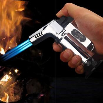 Triple Jet Torch Lighter Spray Gun Baking Kitchen Turbo Pipe Gas Jet BBQ Lighter Butane Cigarette Powerful And Windproof Lighter touch windproof butane gas jet lighter black golden