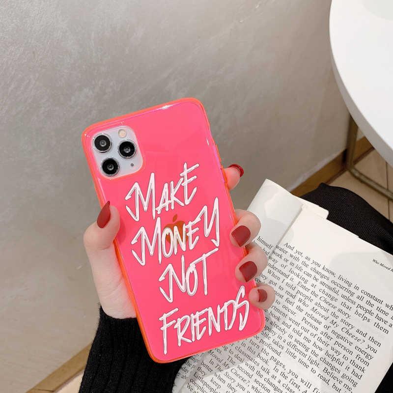 אותיות ניאון לעשות כסף לא חברים טלפון מקרה עבור iPhone 11 פרו XS מקס SE 2 XR X 7 8 בתוספת כיסוי שקוף רך מקרי