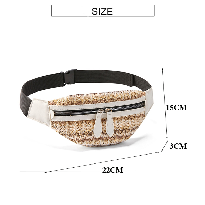 Waist Bag For Women Travel Waist Fanny Pack Holiday Money Belt Wallet Straw Mini Pouch Fashion Summer Chest Bag