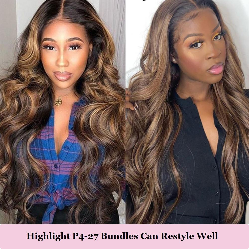 Highlight Bundles BEAUDIVA Straight   Ombre Bundles  P4-27 Brown Straight Hair Bundles with Highlights 2