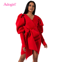 Adogirl S-3XL Solid Puff Sleeve V Neck Bodycon Dress Wrap Ruched Empire Sheath Asymmetrical Mini Night Club Party