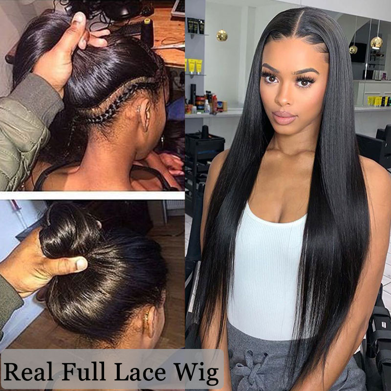 Wigs Human-Hair Full-Lace-Wig Transparent Glueless Pre-Plucked Straight 30inch Brazilian