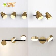 Lámpara de pared led nórdica de 1/2 /3 cabezales, lámpara de baño para espejo, luz de escalera dorada, lámpara de pared de hierro para dormitorio