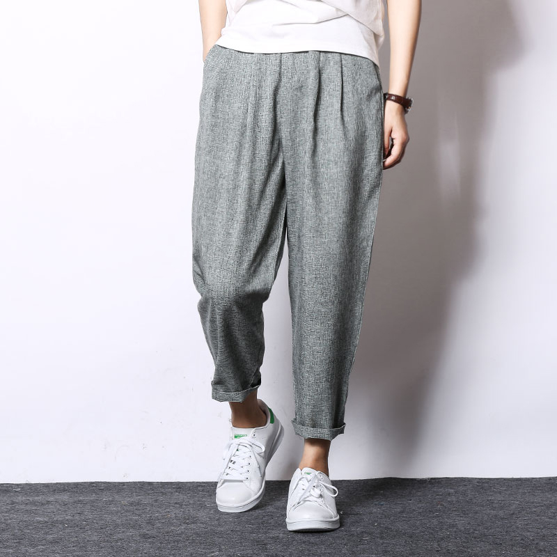 Casual pants Summer mens breathable loose linen casual nine cotton harem solid color carrot