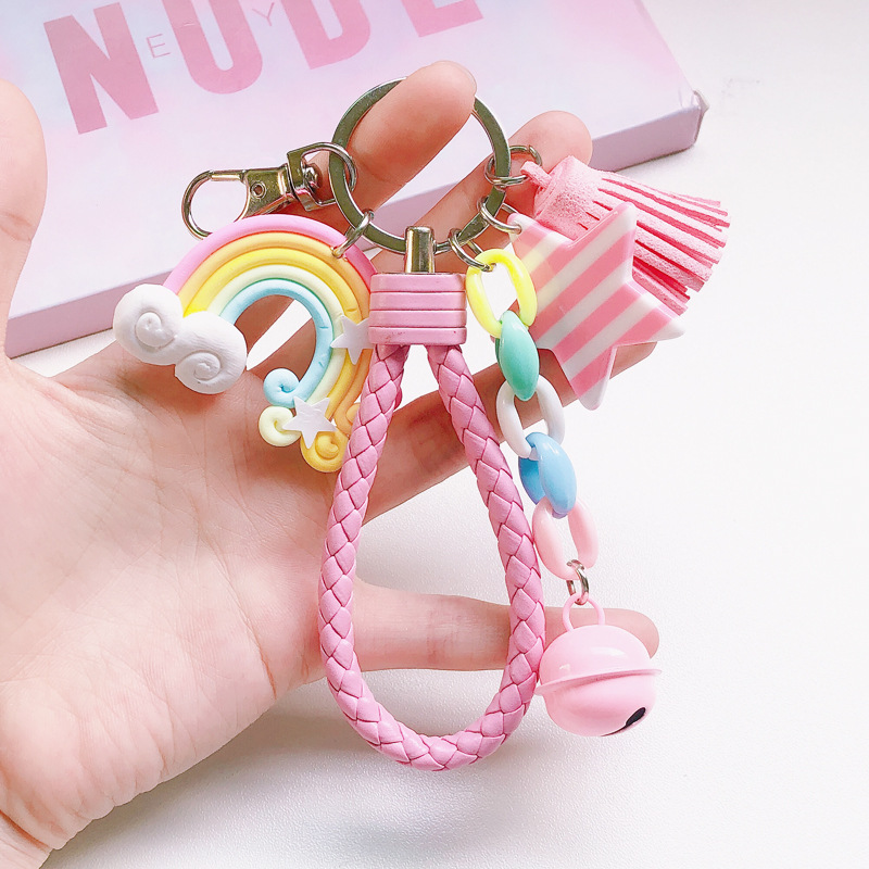 Lovely Cute Rainbow Key Chain Leather Strap Braided Rope Tassel Keychain For Women Girl Bell Star Lollipop Bag Charms Pendant