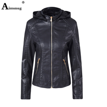Aimsnug Solid Color Zipper Pu Leather Jacket Coat Women Spring Autumn Tunic Outerwear 2019 Female Large Size Hooded Plus Velvet