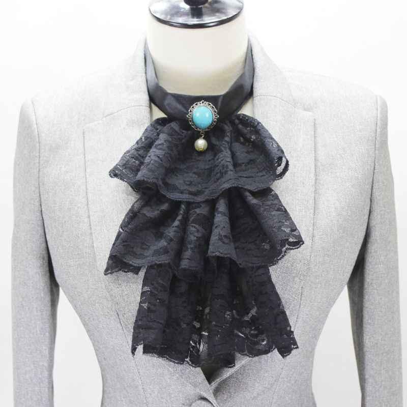 Трехслойные оборки волна кружева Поддельный Воротник Подвеска с имитацией бриллианта чокер галстук 35EF