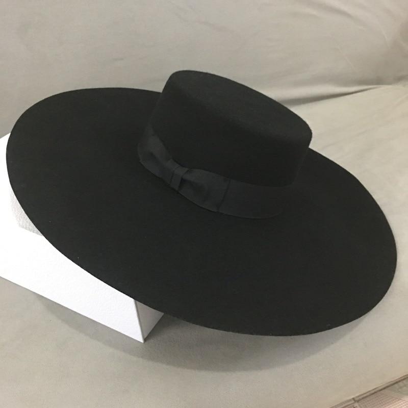 New Retro Style Big Warm Wide Brim Wool Fedora Hat Black Felt Hat Bow Flat Floppy Winter Hat For Women Party Church Wedding Hat