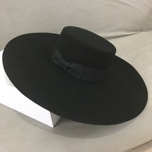 New Retro Style Big Warm Wide Brim Wool Fedora Hat Black Felt Hat Bow Flat Floppy Winter Hat for Women Party Church Wedding Hat stylish lace up embellished wavy edge round top felt floppy hat for women
