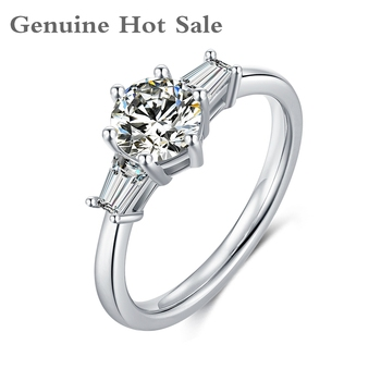 925 Sterling Silver Moissanite Rings 1ct D Color Excellent Cut Diamond Test Passed  Jewelry Wedding Engagemen Ring For Woman