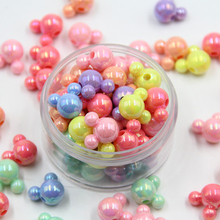 20pcs Candy AB Bright Mickey Head Acrylic Beads DIY Smooth Color Loose Baby Pacifier Chain Bracelet Jewelry 12X8mm