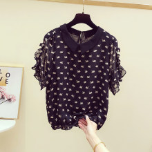 2020 Spring Summer New Korean Style Swan Print Chiffon Blouse Peter Pan Collar Ruffle Short-Sleeve Shirts Women's Casual Top(China)