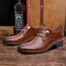 Men Dress Shoes Big Size 38-46 Business Mens Basic Casual Shoes,Black/Brown Leather Cloth Elegant Design Handsome