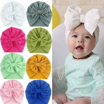 2020 Baby Stuff Accessories Baby Girl Hat With Bow Knot Infant Beanie Solid Big Bowknot Cap For Girls Kid Hats image