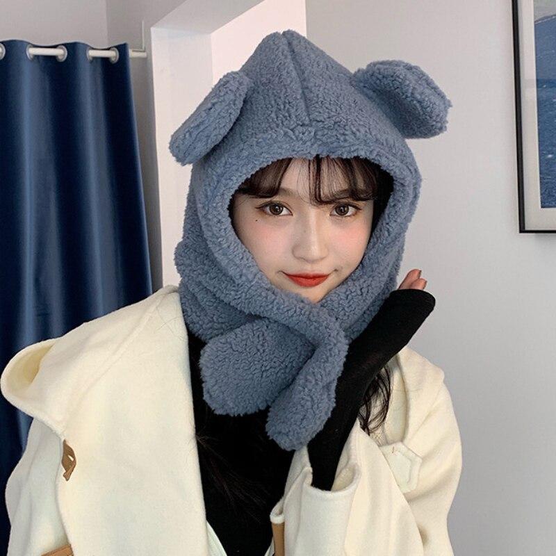Купить зимний аксессуар милая шапка с шарфом в корейском стиле теплый