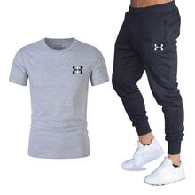 Новая мужская футболка костюм + два частей свободного покроя брюки спорт трек баскетбол мода печать спортивная фитнес футболка