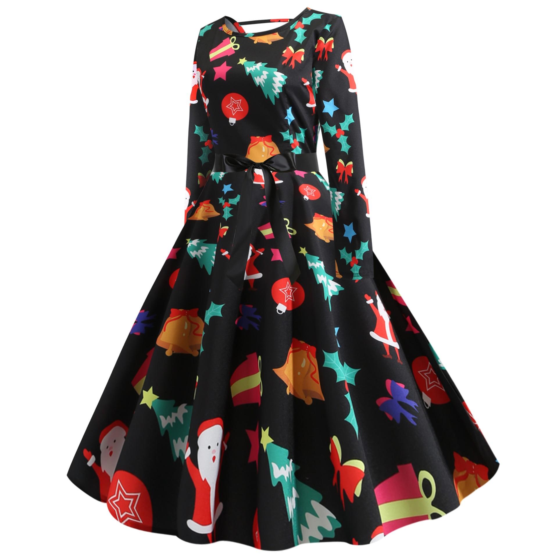 christmas dress vintage women plus size dresses party women clothes print sexy dresses party night club