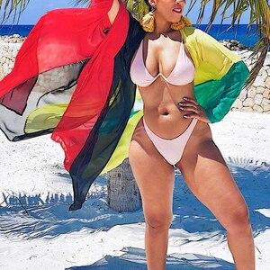 Image 3 - 2020 Chiffon Beach Cover Up Jurk Robe De Plage Badpak Cover Ups Pareos De Playa Mujer Bikini Cover Up beachwear Tuniek