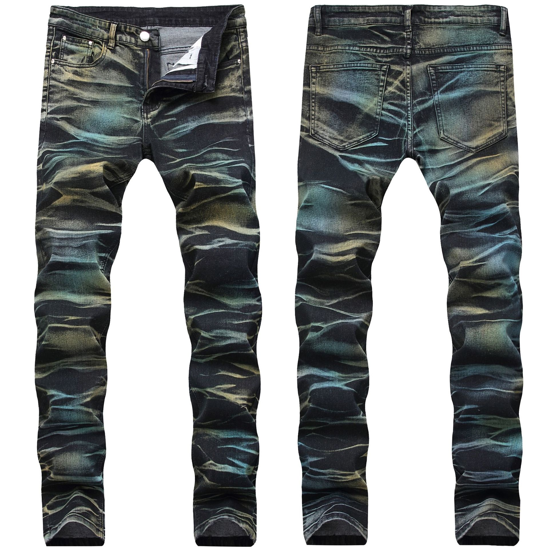 Men Camouflage Jeans Male Straight Classic Jeans Trousers Men Brand Ripped Skinny Slim Casual Denim Stretch Jeans Color Pants