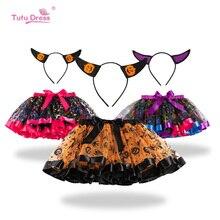 Skirt Children Halloween Pumpkin Ghost Spider Bat Print  Pettiskirt Tutu for Girls Infant Handmade Bow Party Clothings