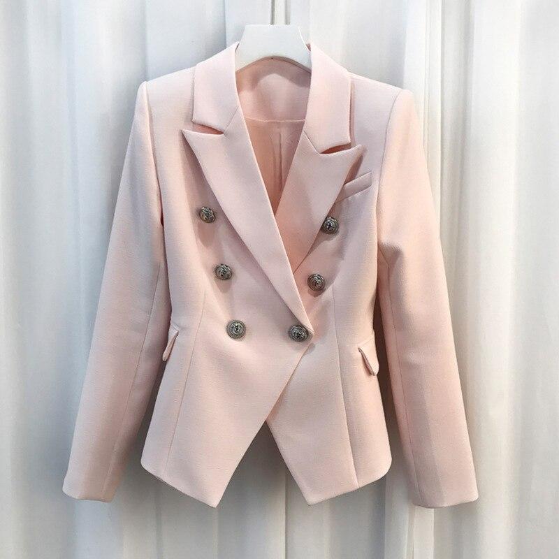 Pink Elegant Office Ladies Workwear Blazer Long Sleeve Double Breasted Suit Female 2020 Women Autumn Blazer